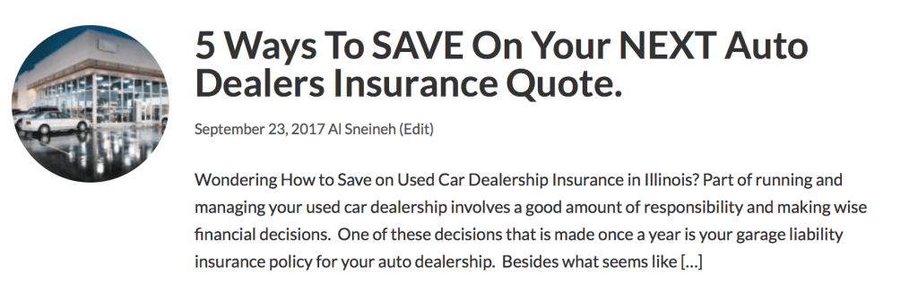 used car dealers insurance quote